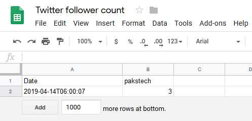 Show Twitter Follower Count with Google Spreadsheets as a Backend