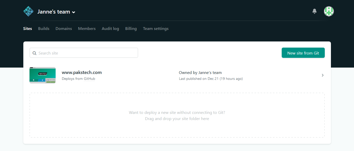 Netlify management interface