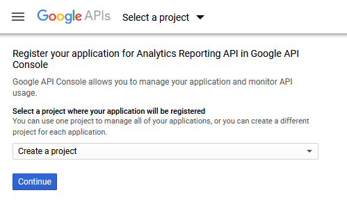 Register project for Analytics Reporting API Console