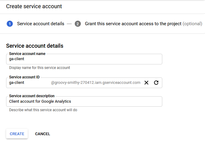 Service account creation form