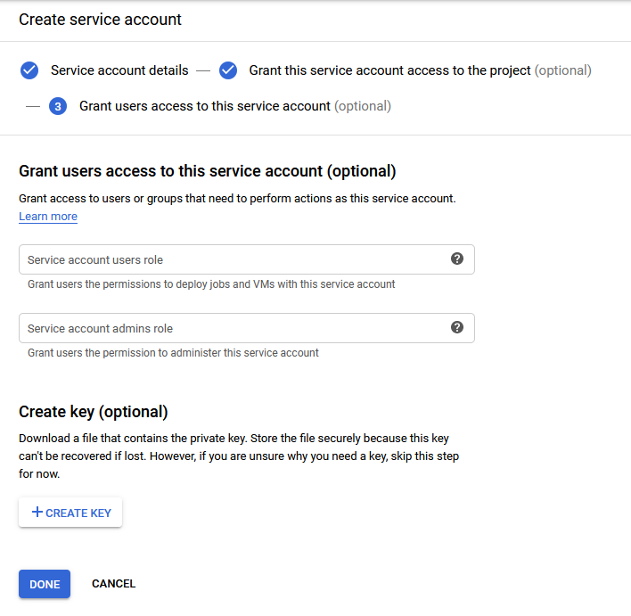 Create key for the service account